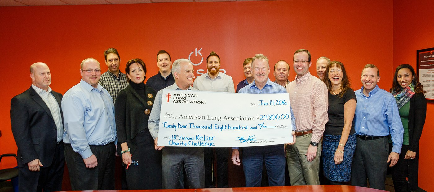 2015 Kelser Charity Challenge check presentation to the American Lung Association of the Northeast