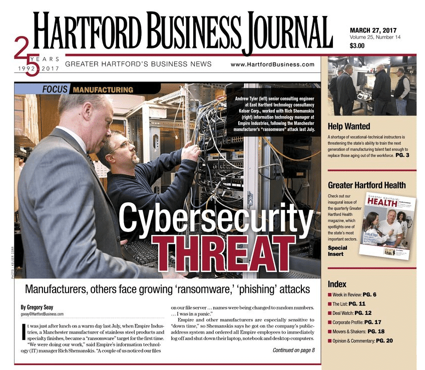 Kelser's work in manufacturing featured on front page of Hartford Business Journal