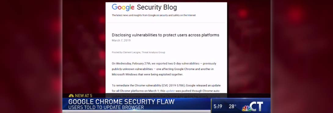Kelser Talks Google Chrome Vulnerability on NBC Connecticut